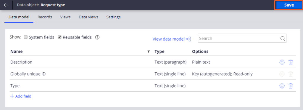 Request data object fields