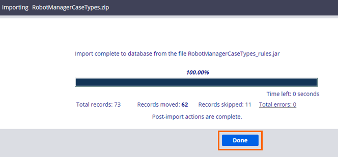 RPA rules import completed