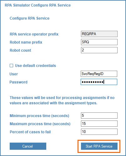 Start RPA Service window