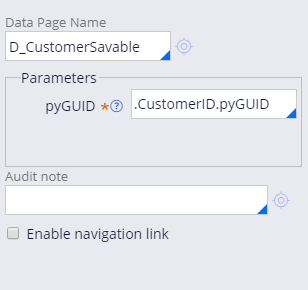 Properties pane of the Save data page automation
