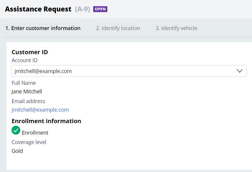 Screenshot showing selecting of customer.
