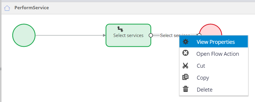 Select services connector View properties