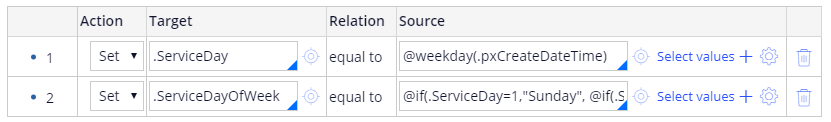 The second line of the SetDayofWeek data transform
