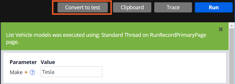 Screenshot showing how to convert to a test case.