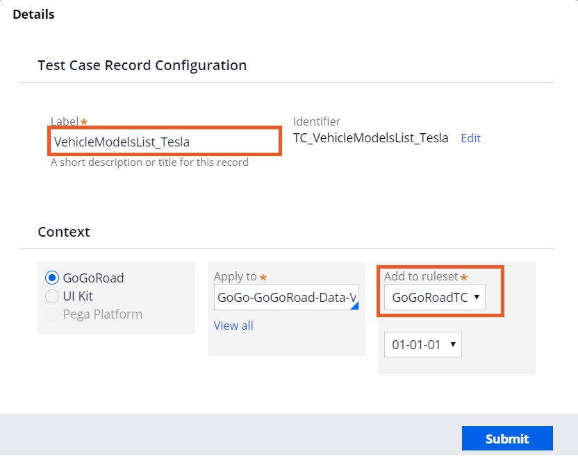 Screenshot showing how to save new test case rule.