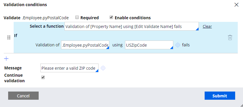 Validate rule configured to validate a provided postal code against the United State ZIP Code standard of 5 numerical digits