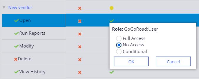 Access Manager New Vendor Open instances No Access