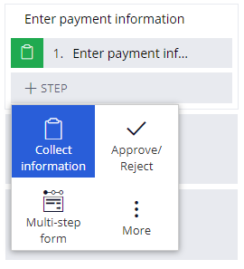 Add a collect information step to the Enter payment information process