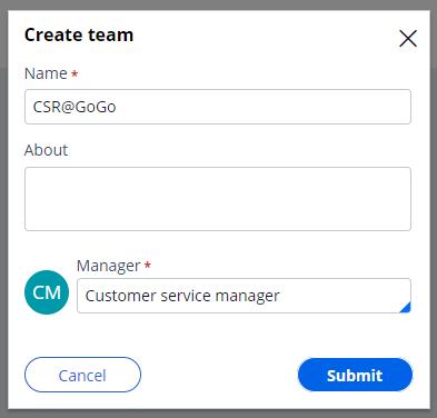 Create team window