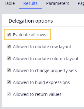 Evaluate all rows option on the decision table