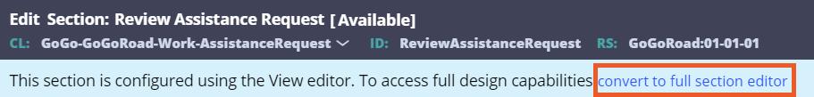 Screenshot showing to convert to full editor.