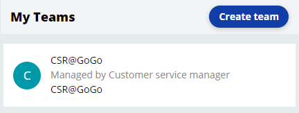 My teams view updated with the CSR@GoGo team