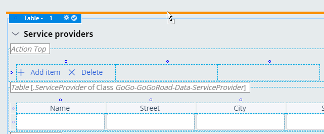 The insertion point for a new layout is indicatedby the orange horizontal line