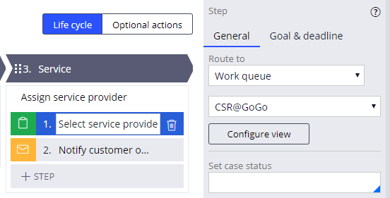Select service provider routed to the CSR@GoGo work queue
