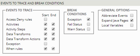 Tracer Events to Trace and Break Conditions section