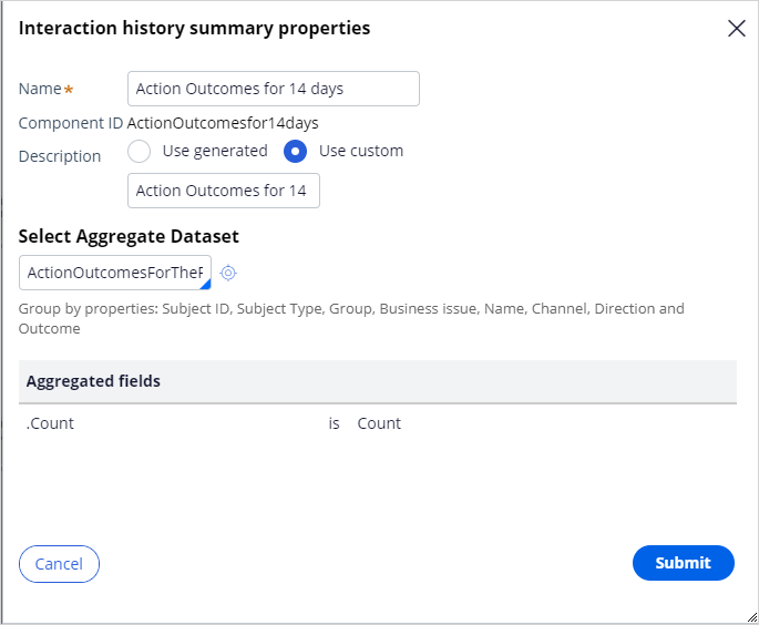 Interaction history summary properties