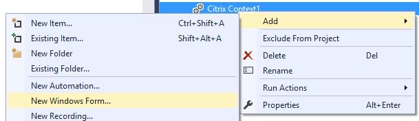 add citrix to windows form