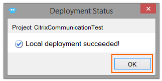 deployment status popup