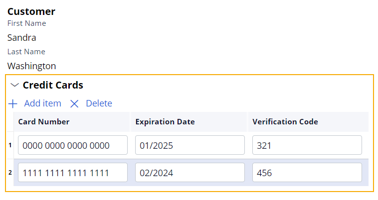 Example of customer credit cards with multi record data relationship embedded in a single record data relationship