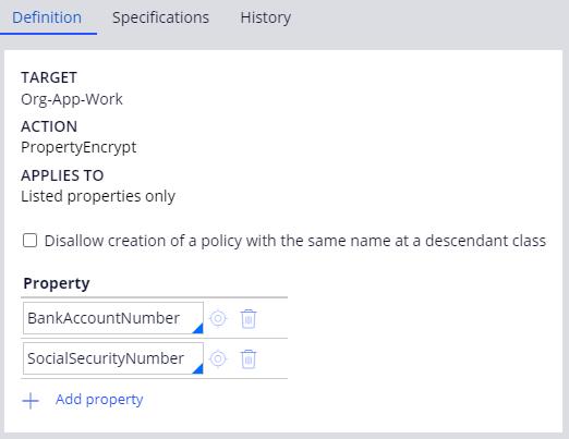 Property encryption on PropertyEncrypt Access Control Policy