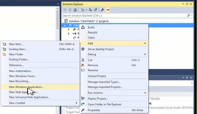 Screenshot showing menu to add a new windows application to a robotic solution