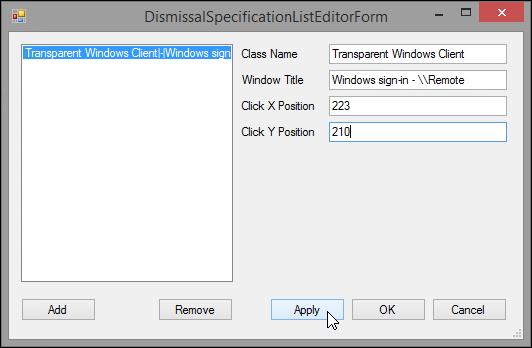 Screenshot showing the DismissalSpecificationListEditorForm window