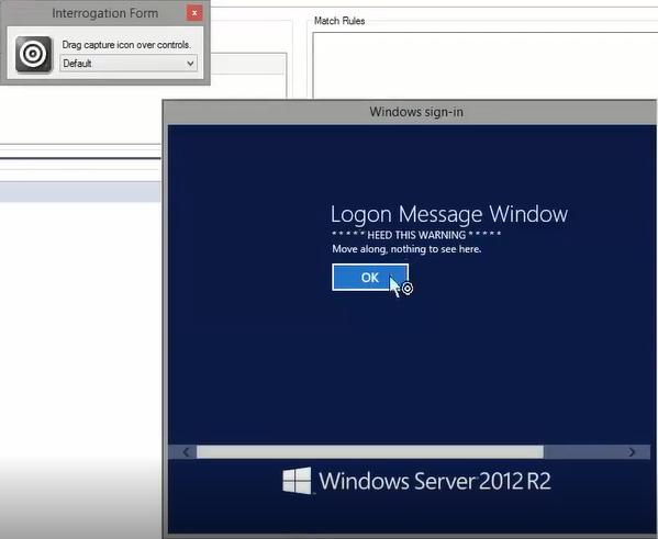 Screenshot showing interrogation of a windows logon form