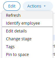 Actions menu does not display the Update goals flow action