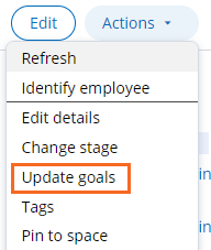 Update goals flow action is available from the Actions menu