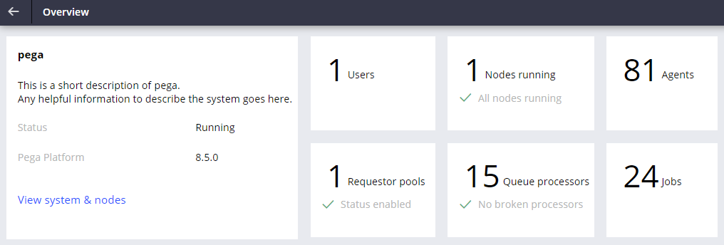 Overview landing page in Admin Studio