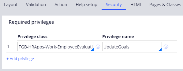 Update goals flow action Security tab with the Privilege named UpdateGoals