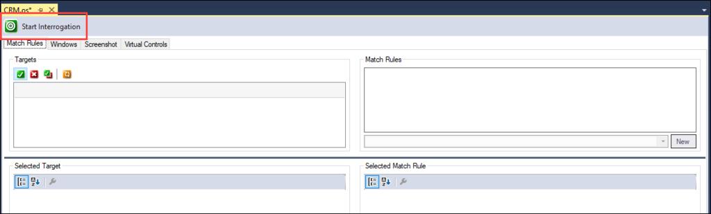 Screenshot showing location of Start Interrogation button in top left of Designer window