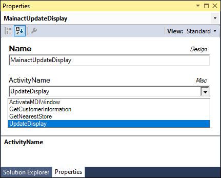 ActivityName property dropdown