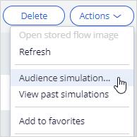 Action level audience simulation menu