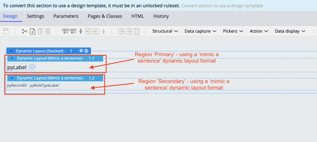 regions that could be created to convert pyRecentWorkContent to use a design template