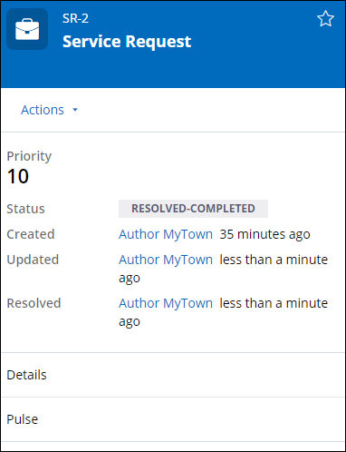 Service Request case has a status of Resolved-Competed after approved