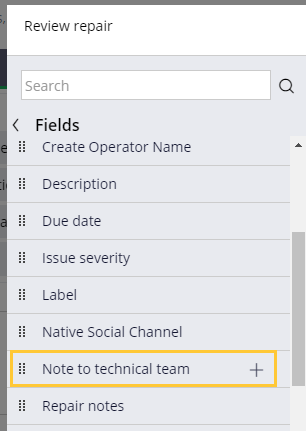 Hover over Note to technical team field to show plus icon