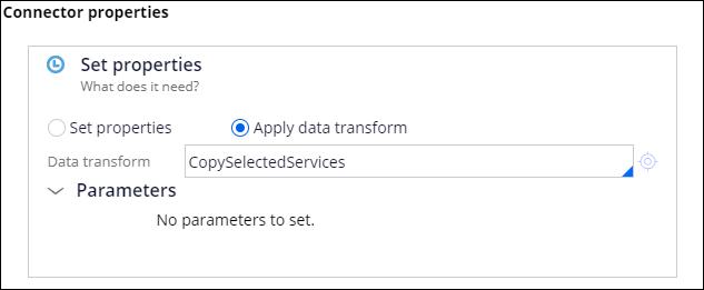 connector properties CopySelectedServices data transform