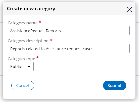 Create new report category dialog box
