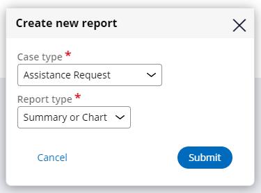 Create new report dialog box