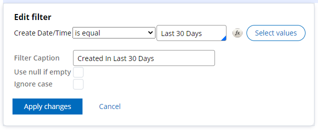 Edit filter on a custom business report for Created in last 30 days