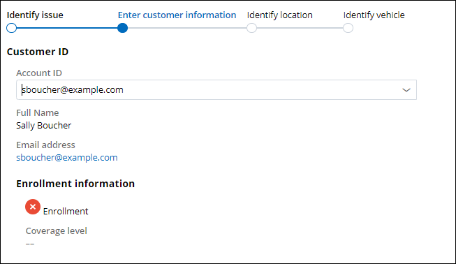 The Enter customer information step with information for an unenrolled customer