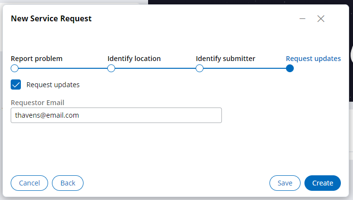 Request updates view with the Requestor email field filled out