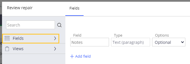 Configuring the Review repair view, selecting Fields from the left pane