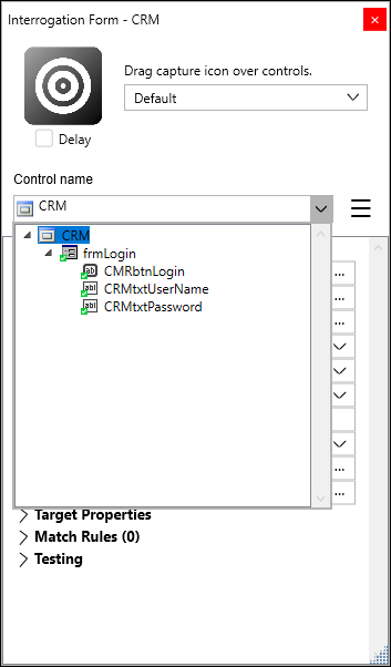 Screenshot showing the hierarchy of interrogated objects from the CRM application in Pega Robot Studio
