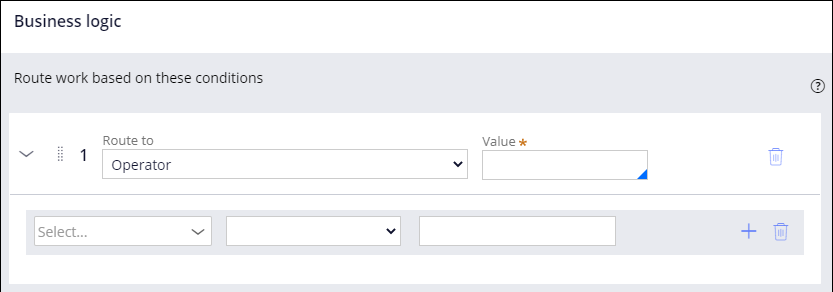 The default state of the business logic configuration overlay for routing.