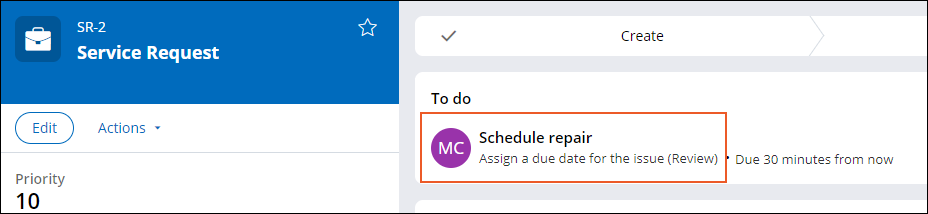A service request case currently on the Schedule repair step, assigned to the Municipal Services Coordinator.