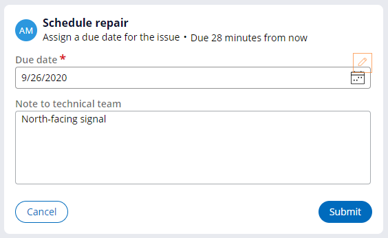 Schedule repair view at runtime