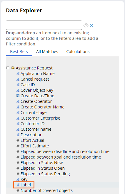Data explorer Label field