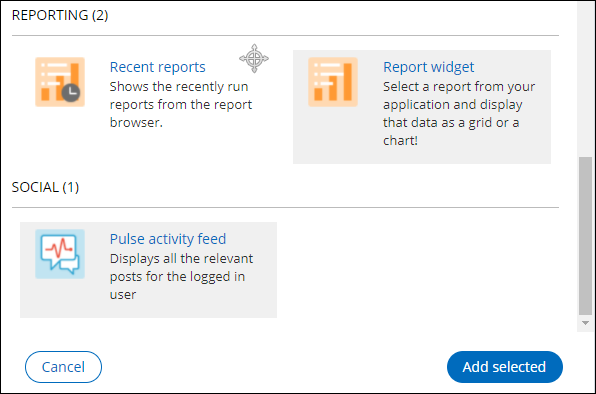 The Pulse activity feed and Report widgets selected for inclusion on the dashboard.